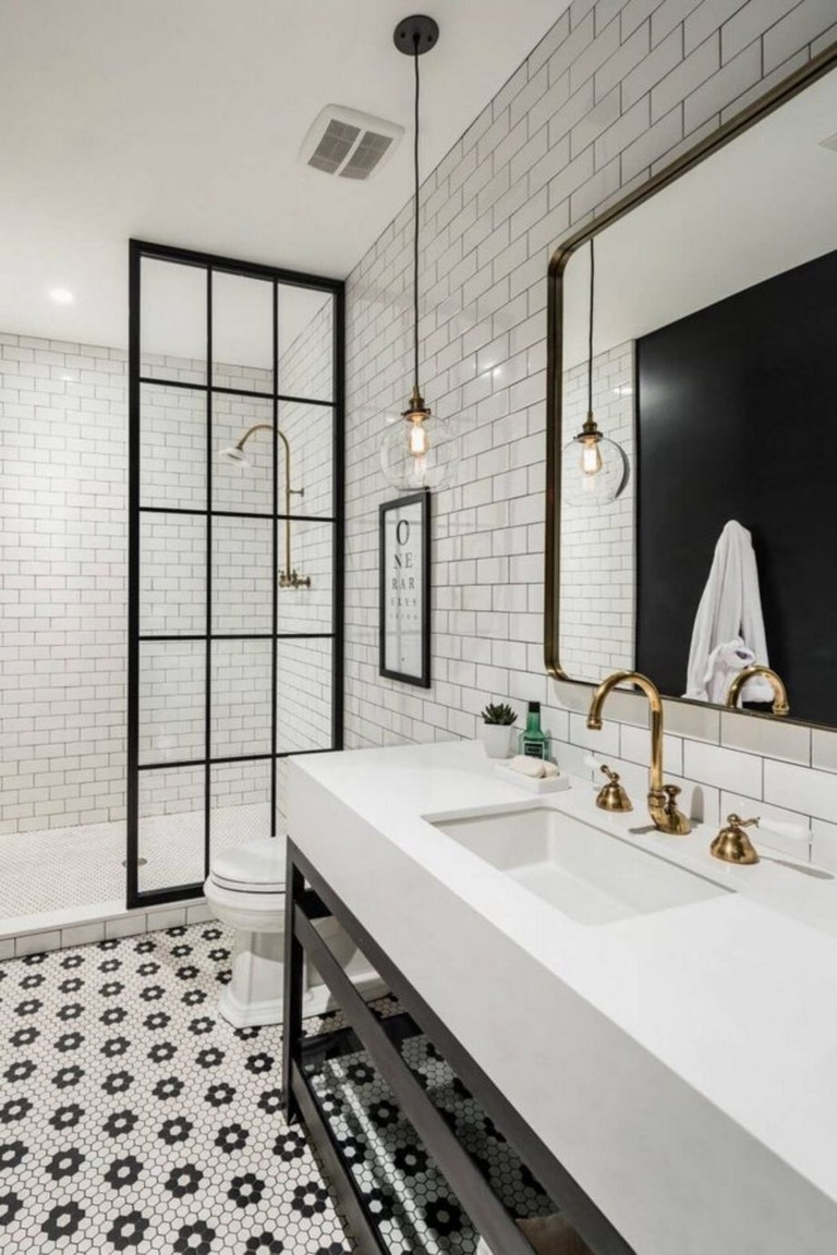 45 best stylish white subway tile bathroom ideas for your